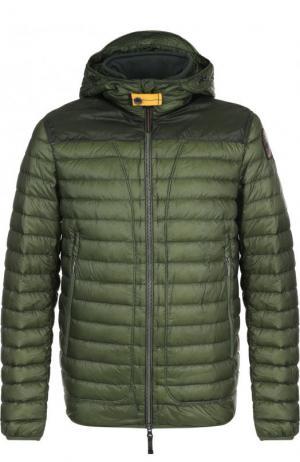 Стеганая куртка на молнии с капюшоном Parajumpers. Цвет: зеленый
