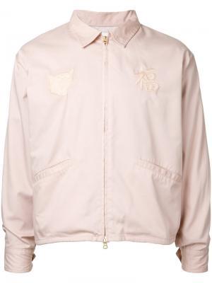 Куртка-бомбер  с вышивкой monkey time. Цвет: розовый и фиолетовый
