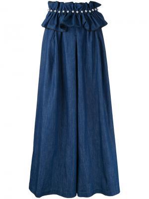 Джинсовые брюки палаццо с поясом Huishan Zhang. Цвет: синий