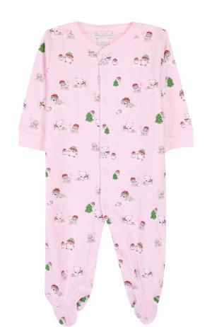 Хлопковая пижама с принтом Kissy. Цвет: розовый
