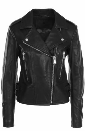 Приталенная кожаная куртка с косой молнией Belstaff. Цвет: черный
