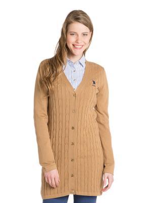 Кардиган U.S. Polo Assn.. Цвет: светло-коричневый
