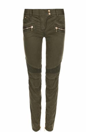 Однотонные джинсы-скинни Balmain. Цвет: хаки