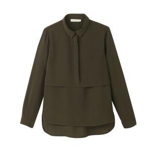Блузка однотонная с воротником-поло и длинными рукавами SEE U SOON. Цвет: хаки