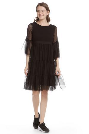 Многоярусное платье с рукавами клеш HANNY DEEP. Цвет: черный