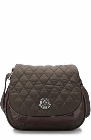 Текстильная сумка с прострочкой Moncler Enfant. Цвет: хаки