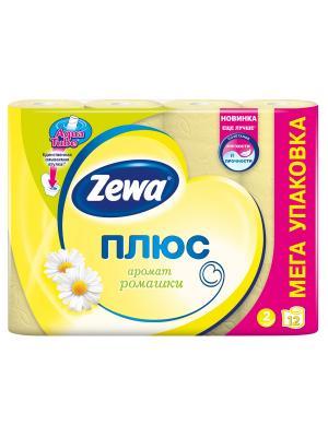 Zewa Бумага туалетная Плюс 2-ух слойная с ароматом ромашки 12шт. Цвет: желтый