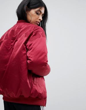 Adidas Originals Бордовый бомбер с логотипом на спине. Цвет: красный