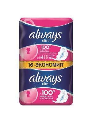 Гигиенические прокладки Ultra Супер плюс с крылышками, 16 шт. Always. Цвет: розовый