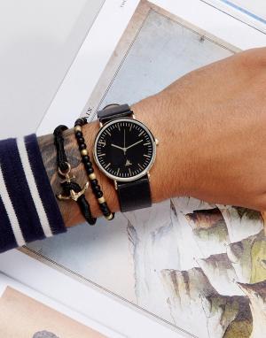 ASOS Часы с ремешком из искусственной кожи и браслет якорем. Цвет: черный