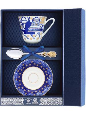 Набор чайный Сад - Колокола с ложкой чайной Ангел 3 предмета + футляр АргентА. Цвет: серебристый
