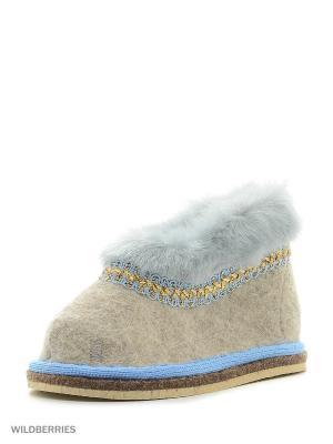 Тапочки высокие Кукморский валяльно-войлочный комбинат. Цвет: серый, голубой