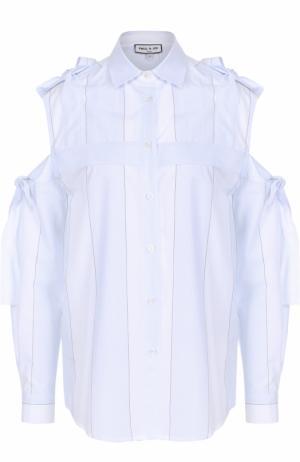Хлопковая блуза с открытыми плечами и бантами Paul&Joe. Цвет: светло-голубой