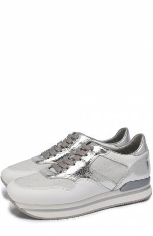 Комбинированные кроссовки на шнуровке Hogan. Цвет: серебряный
