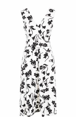 Приталенное платье с принтом и поясом Altuzarra. Цвет: черно-белый