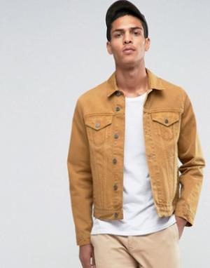 ASOS Узкая джинсовая куртка горчичного цвета. Цвет: желтый