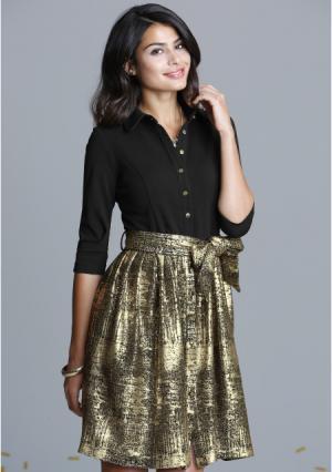 Платье MY STYLE. Цвет: черный/золотой