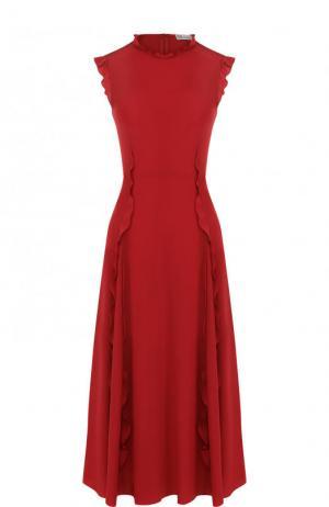 Приталенное шелковое платье-миди с оборками REDVALENTINO. Цвет: красный