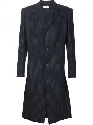Полосатое пальто Icosae. Цвет: синий