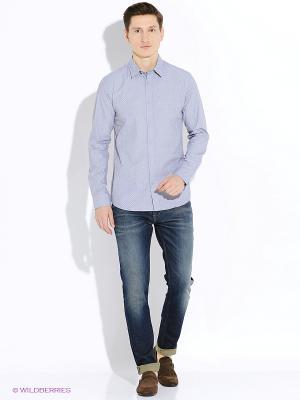 Рубашка SELECTED. Цвет: сиреневый, светло-серый, серебристый