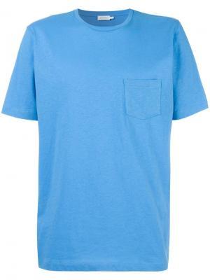 Футболка с нагрудным карманом Sunspel. Цвет: синий