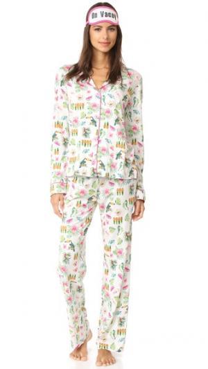 Пижама с тропическим рисунком PJ Salvage. Цвет: золотой