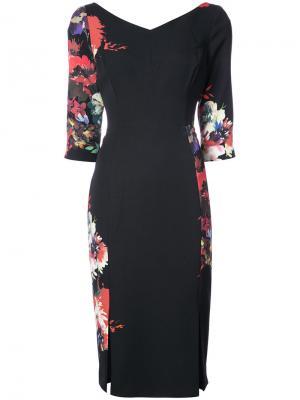 Платье с цветочным принтом Black Halo. Цвет: чёрный