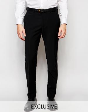 Number Eight Savile Row Эксклюзивные полушерстяные зауженные брюки стретч. Цвет: черный