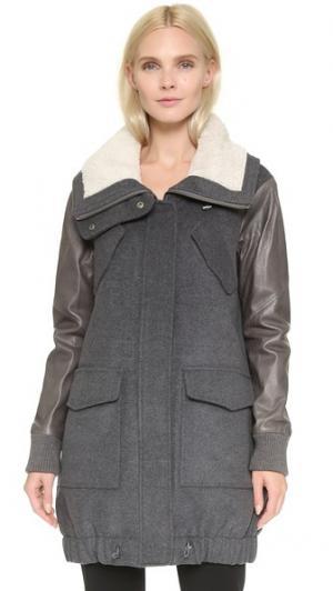 Шерстяная куртка с кожаными рукавами Tess Giberson. Цвет: серый комбинированный