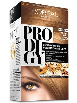 Краска для волос Prodigy без аммиака, оттенок 7.31, Карамель L'Oreal Paris. Цвет: бежевый