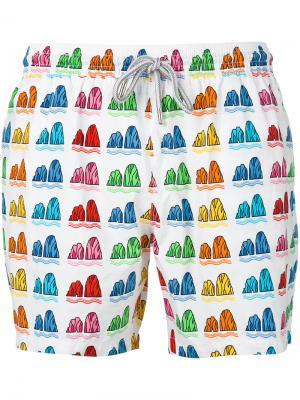 Пляжные шорты с принтом Capricode. Цвет: белый