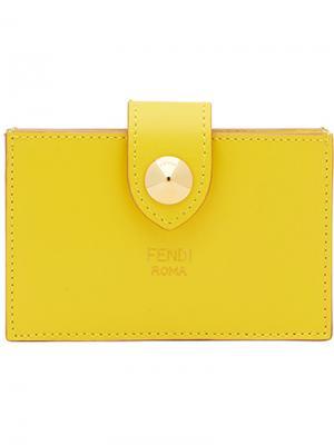 Визитница на кнопке Fendi. Цвет: жёлтый и оранжевый