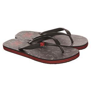 Вьетнамки DC Spray Graffik Black/White/Red Shoes. Цвет: черный,красный
