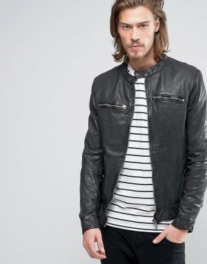 Goosecraft Байкерская кожаная куртка с молнией спереди. Цвет: черный