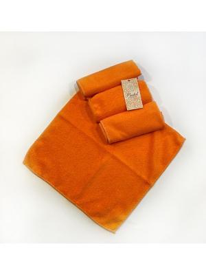 Набор полотенец 4 предмета из микрофибры 30х30. La Pastel. Цвет: оранжевый