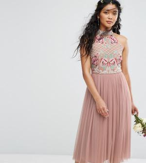 Maya Тюлевое платье миди с высоким воротом и вышивкой. Цвет: коричневый
