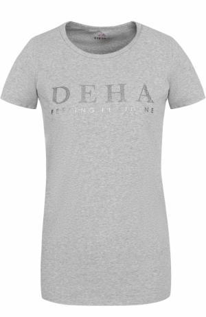 Спортивная футболка с контрастной отделкой Deha. Цвет: серый