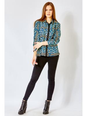 Блузка blans. Цвет: синий, бежевый