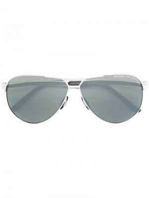 Солнцезащитные очки-авиатор Porsche Design. Цвет: металлический