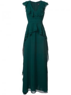 Вечернее платье с оборками Badgley Mischka. Цвет: зелёный