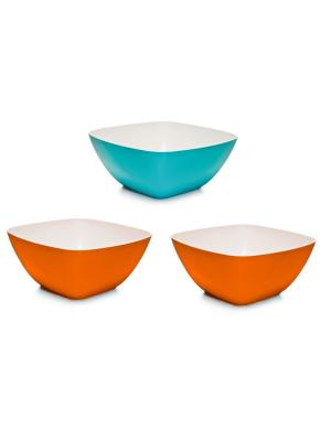 Комплект салатник Премиум 2.0л квадратная -3 шт. Полимербыт. Цвет: оранжевый,бирюзовый