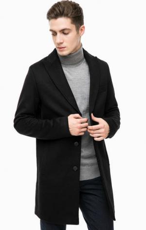 Черное пальто из шерсти Cinque. Цвет: черный