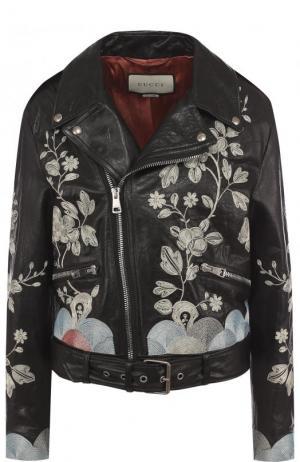 Кожаная куртка с косой молнией и контрастной вышивкой Gucci. Цвет: черный