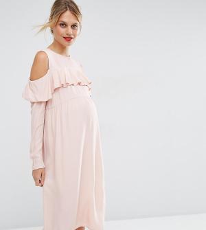 ASOS Maternity Платье для беременных с рюшами спереди и вырезами на плечах Mater. Цвет: розовый