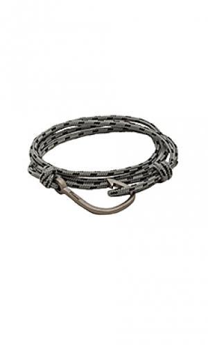Веревочный браслет с матово-черным крючком Miansai. Цвет: серый
