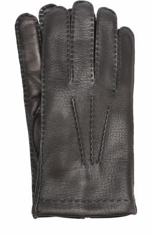 Кожаные перчатки с кашемировой подкладкой Cortigiani. Цвет: черный