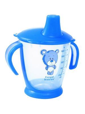 Чашка-непроливайка, 180 мл. Медвежонок 9м+, цвет: синий Canpol babies. Цвет: синий, прозрачный
