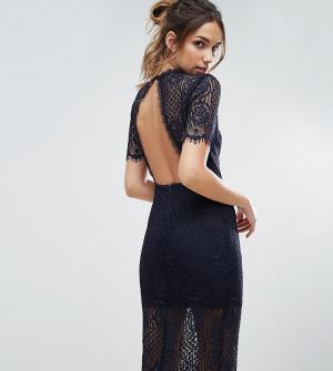 Love Triangle Кружевное платье миди с открытой спиной. Цвет: черный