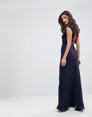 Elise Ryan Платье макси с высоким воротом и кружевной вставкой на спине Rya. Цвет: темно-синий