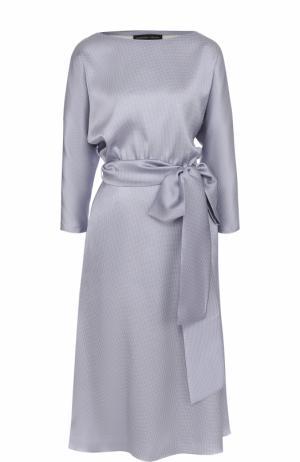 Приталенное шелковое платье-миди с поясом Alexander Terekhov. Цвет: голубой